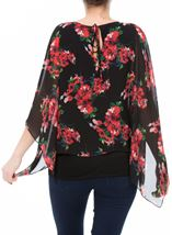 Floral Chiffon Layer And Jersey Top Black/Coral - Gallery Image 3