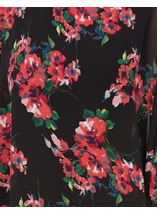Floral Chiffon Layer And Jersey Top Black/Coral - Gallery Image 4