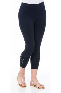 Cropped Eyelet Jersey Leggings - Midnight