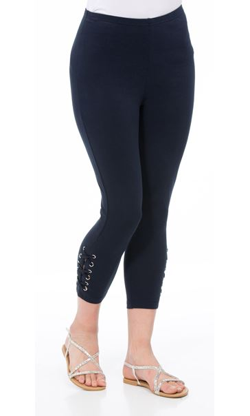 Cropped Eyelet Jersey Leggings Midnight - Gallery Image 2