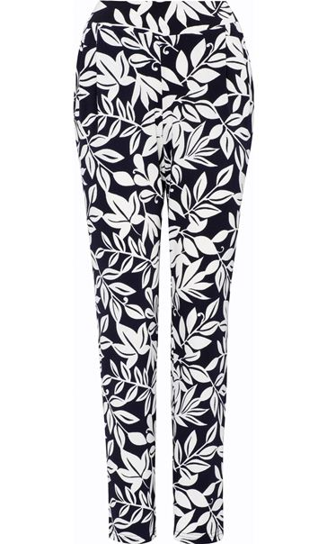 Leaf Printed Tapered Pull On Trousers Midnight/Ivory