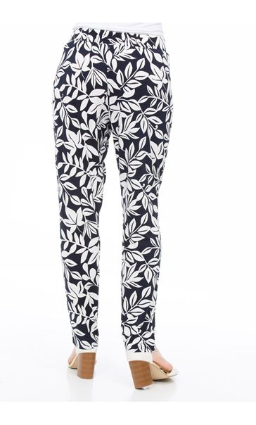 Leaf Printed Tapered Pull On Trousers Midnight/Ivory - Gallery Image 3