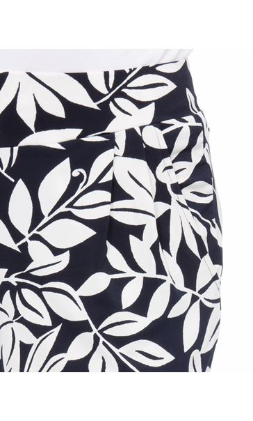 Leaf Printed Tapered Pull On Trousers Midnight/Ivory - Gallery Image 4