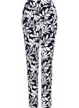 Leaf Printed Tapered Pull On Trousers Midnight/Ivory - Gallery Image 1