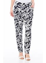 Leaf Printed Tapered Pull On Trousers Midnight/Ivory - Gallery Image 2