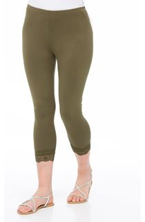 Cropped Lace Trimmed Leggings - Khaki