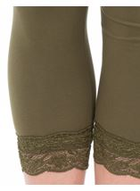 Cropped Lace Trim Leggings Green - Gallery Image 3