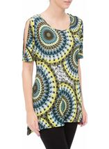 Cold Shoulder Printed Tunic Multi Green - Gallery Image 2