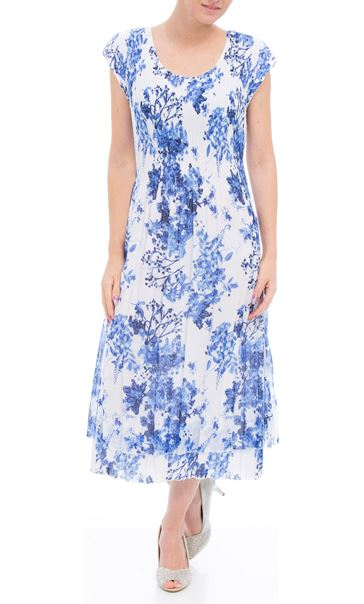 Anna Rose Sleeveless Floral Print Lace Midi Dress White/Cobalt
