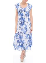 Anna Rose Sleeveless Floral Print Lace Midi Dress White/Cobalt - Gallery Image 1