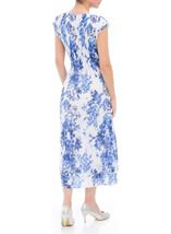 Anna Rose Sleeveless Floral Print Lace Midi Dress White/Cobalt - Gallery Image 2
