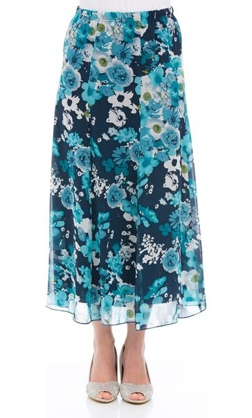 Anna Rose Pull On Floral Chiffon Skirt Teal Multi