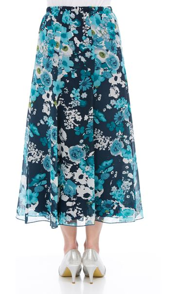 Anna Rose Pull On Floral Chiffon Skirt Teal Multi - Gallery Image 3