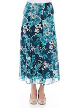 Anna Rose Pull On Floral Chiffon Skirt Teal Multi - Gallery Image 1
