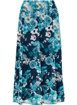 Anna Rose Pull On Floral Chiffon Skirt Teal Multi - Gallery Image 2