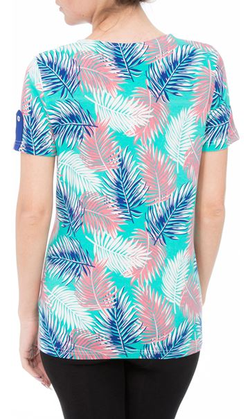Anna Rose Leaf Print Jersey Top Multi Tropic - Gallery Image 2