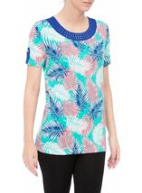 Anna Rose Leaf Print Jersey Top Multi Tropic - Gallery Image 1