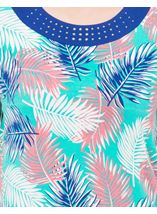 Anna Rose Leaf Print Jersey Top Multi Tropic - Gallery Image 3
