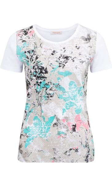 Anna Rose Printed Short Sleeve Cotton Top Multi Floral