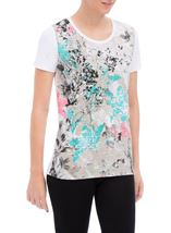 Anna Rose Printed Short Sleeve Cotton Top Multi Floral - Gallery Image 2
