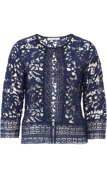 Anna Rose Lace Open Cover Up Navy