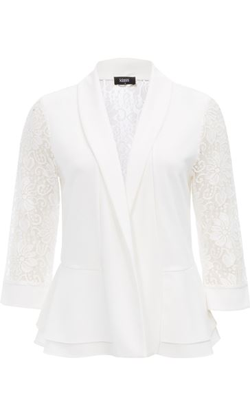 Three Quarter Sleeve Lace Trim Cover Up Ivory