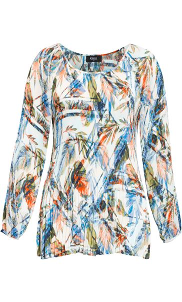 Pleated Leaf Printed Cold Shoulder Top White/Peach