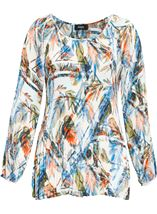 Pleated Leaf Printed Cold Shoulder Top White/Peach - Gallery Image 1
