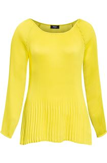Pleated Long Sleeve Cold Shoulder Top
