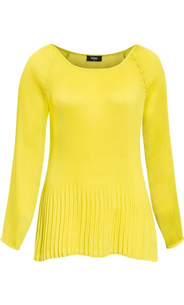 Pleated Long Sleeve Cold Shoulder Top Lime