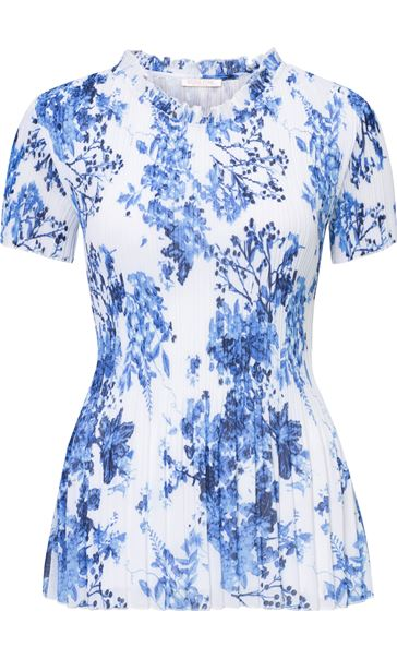Anna Rose Floral Pleat Top White/Cobalt