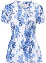 Anna Rose Floral Pleat Top White/Cobalt - Gallery Image 1