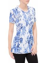 Anna Rose Floral Pleat Top White/Cobalt - Gallery Image 2