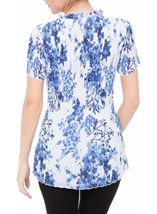 Anna Rose Floral Pleat Top White/Cobalt - Gallery Image 3