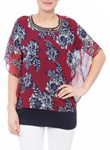 Embellished Chiffon Layered Top Claret/Midnight - Gallery Image 1