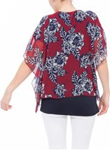 Embellished Chiffon Layered Top Claret/Midnight - Gallery Image 2