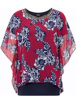Embellished Chiffon Layered Top Claret/Midnight - Gallery Image 4