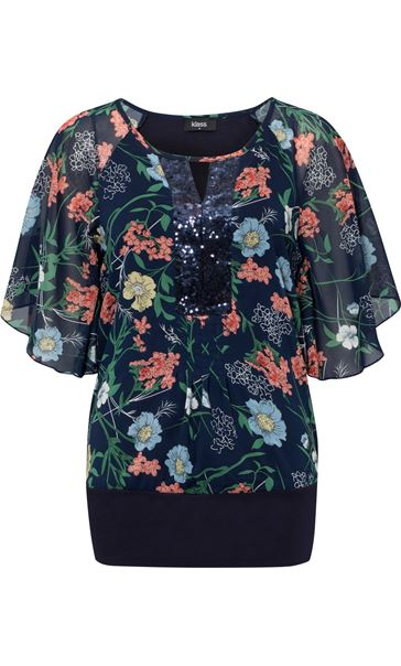 Sequin Embellished Floral Chiffon Layer Top Midnight Multi