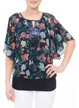 Sequin Embellished Floral Chiffon Layer Top Midnight Multi - Gallery Image 2
