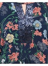 Sequin Embellished Floral Chiffon Layer Top Midnight Multi - Gallery Image 4