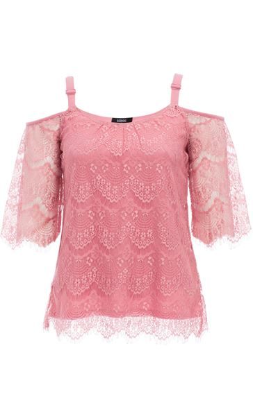 Cold Shoulder Lace Top Blush