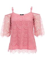 Cold Shoulder Lace Top Blush - Gallery Image 1