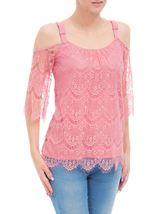Cold Shoulder Lace Top Blush - Gallery Image 2