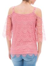 Cold Shoulder Lace Top Blush - Gallery Image 3