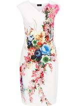 Placement Floral Print Midi Scuba Dress Ivory/Multi - Gallery Image 1