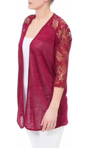 Lace Trim Open Cardigan Claret - Gallery Image 2