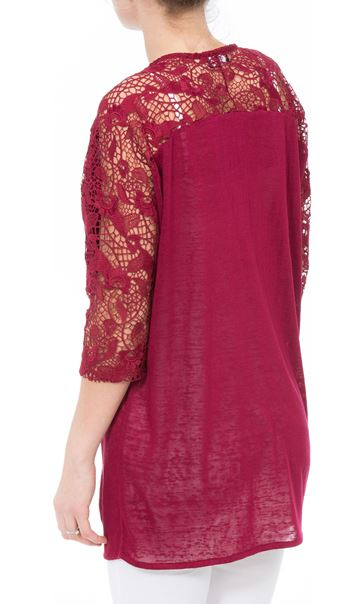 Lace Trim Open Cardigan Claret - Gallery Image 3