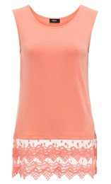 Lace Trim Sleeveless Jersey Top Orange - Gallery Image 1