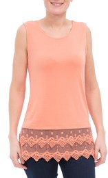 Lace Trim Sleeveless Jersey Top Orange - Gallery Image 2