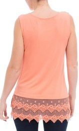 Lace Trim Sleeveless Jersey Top Orange - Gallery Image 3